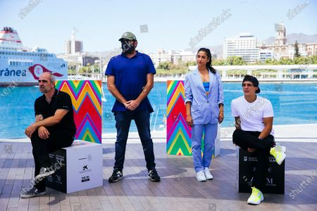 Luis Tosar (L), filmmaker Daniel Calparsoro (2-L) and actors Carolina Yuste (2-R) and Miguel Herran pose for photographers during the presentation of the film 'Hasta Luego' in the framework of the opening day of 23rd Spanish Film Festival in Malaga, southern Spain, 22 August 2020. The film competes in the official section of the festival running from 21 to 30 August. The festival was postponed due to the coronavirus lockdown last March.