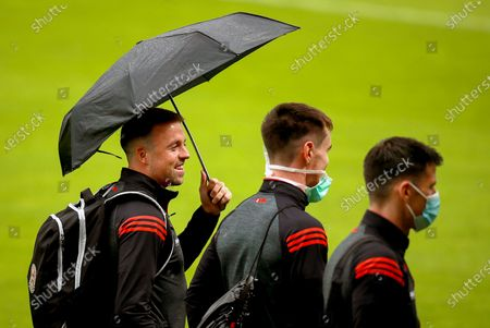 Bohemians vs St. Patrick's Athletic. Bohemians' Michael Barker, Keith Ward and Dinny Corcoran arrive