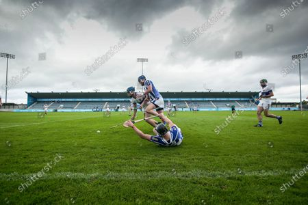 St. Vincent's vs Ballyboden St. Enda's. St. Vincent's Rian McBride with Sean McDonnell and Paul Doherty of the Ballyboden St. Enda's