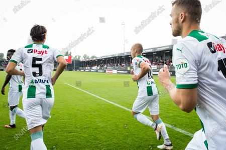 Dutch Arjen Robben (C) of FC Groningen in action during the Eredivisie match between Almere City FC and FC Groningen at the Yanmar stadium in Almere, The Netherlands, 22 August 2020. The 36-year-old routine makes his return to the Dutch fields.