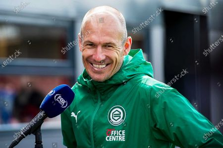 Dutch forward Arjen Robben of FC Groningen smiles as he talks to journalists after the Dutch Eredivisie soccer match between Almere City FC and FC Groningen at the Yanmar stadium in Almere, Netherlands, 22 August 2020. The 36-year-old Robben made his return to the Dutch soccer fields.