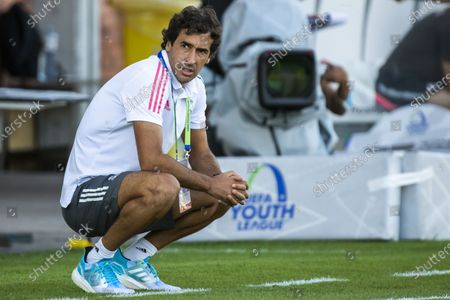 Real Madrid's head coach Raul Gonzalez Blanco reacts during the UEFA Youth League semi final soccer match between FC Salzburg and Real Madrid at the Colovray Sports Centre stadium in Nyon, Switzerland, 22 August 2020.