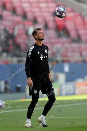 Bayern's goalkeeper Sven Ulreich plays with a ball during a training session at the Luz stadium in Lisbon, . Bayern Munich will play PSG in the Champions League final soccer match on Sunday