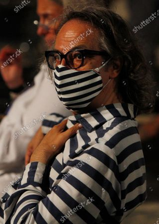 Italian journalist Gigi Marzullo attends the Spanish opera tenor Placido Domingo concert at the Royal Palace of Caserta, Italy, Saturday, Aug.22, 2020