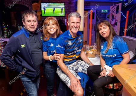 Stock Picture of Leinster vs Munster. Fans Paddy Burke, Donna Barry, Stephen Hevey and Audrey Hevey at Slattery's Pub for the game