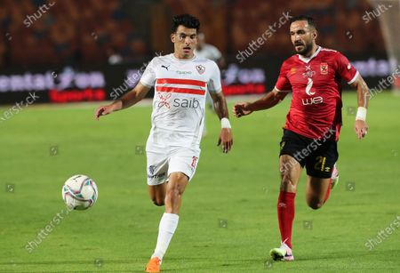 Stock Picture of Zamalek's Zizo (L) in action against Al Ahly's Ali Maaloul (R) during the Egyptian Premier League soccer match between Zamalek SC and Al Ahly SC in Cairo, Egypt, 22 August 2020.