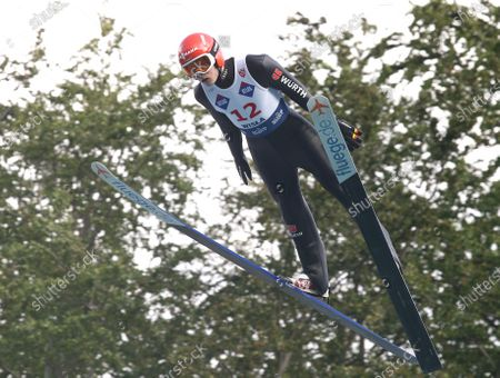 David Siegel during the individual competition of the FIS Ski Jumping Summer Grand Prixp in Wisla.