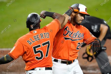 Baltimore Orioles' Anthony Santander (25) celebrates with Hanser Alberto (57) after hitting a two-run home run off Boston Red Sox relief pitcher Josh Taylor during the eighth inning of a baseball game, in Baltimore. The Orioles won 5-4 in ten innings