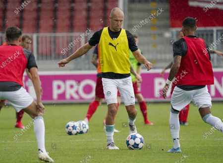 Arjen Robben of FC Groningen in action during the friendly soccer match between Almere City FC and FC Groningen at the Yanmar stadium. The 36-year-old player makes his return to the Dutch fields.