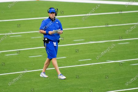 Stock Photo of Los Angeles Rams offensive coordinator Kevin O'Connell during an NFL football practice, in Inglewood, Calif
