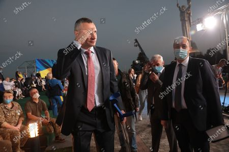 Kyiv city head Vitali Klitschko attends the ceremony of hoisting the largest Ukrainian flag (16 by 24 metres) on the 90m(295ft) tall flagpole at the National Museum of the History of Ukraine in WWII Memorial Complex, Kyiv, capital of Ukraine.