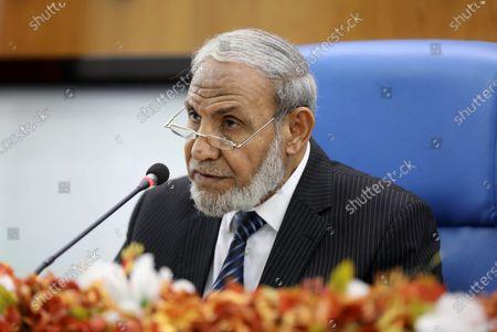 Senior Hamas leader Mahmoud al-Zahar speaks during a meeting at the legislative council, in Gaza city on August 23, 2020.