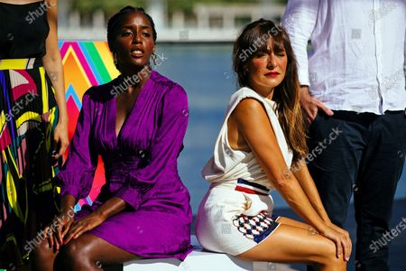 Actresses and cast members Lidia Nene (L) and Candela Pena pose for the photographers during the presentation of the film 'Black Beach' in the framework of 23rd Spanish Film Festival in Malaga, southern Spain, 23 August 2020. The film competes in the official section of the festival running from 21 to 30 August. The festival was postponed due to coronavirus lockdown last March.