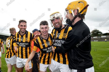 Stock Picture of Shelmaliers vs Naomh Eanna. Shelmaliers' Brian Malone, Craig Parker and James Cash celebrate after the game