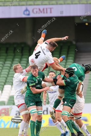 Stock Photo of Connacht vs Ulster. Ulster's Alan O'Connor comes down badly from a line out on top of Gavin Thornbury with Eoghan Masterson and Ultan Dillane of Connacht