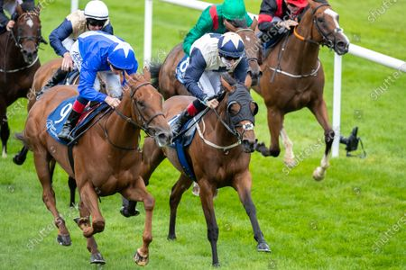 Stock Image of Kevin Manning on Bounce the Blues holds off Gary Carroll on Auxilia to win The Owenstown Stud Stakes