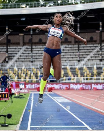 Caterine Ibarguen of Colombia places second in women's longjump during the Stockholm Diamond League competition at the Stockholm Stadium, Sweden, 23 August 2020.