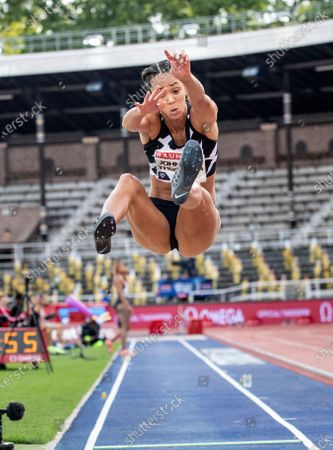 Katarina Johnson-Thompson of Britain competes in the women's longjump during the Stockholm Diamond League competition at the Stockholm Stadium, Sweden, 23 August 2020.