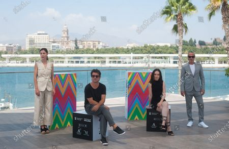"Spanish actress Ruth Diaz (L-1), Gala Amyach (R-2); Spanish and Argentinian actor Ernesto Alterio (R-1) and director Achero Mañas (2-L) pose on the photocall of the film ""Un mundo normal"" at Muelle Uno amid coronavirus crisis.  The 23 edition of Spanish Malaga Film Festival is the first great cinematographic event in Spain after it was postponed due to coronavirus pandemic last month of March. The organization has introduced measures to prevent the spread for coronavirus and to guarantee a secure event. The festival will be held from 21 to 30 August."