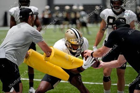 New Orleans Saints wide receiver Bennie Fowler goes through drills during practice at their NFL football training facility in Metairie, La