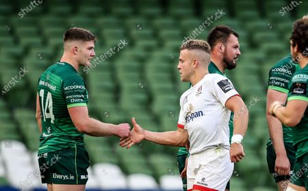 Connacht vs Ulster. Connacht's Peter Sullivan with Ian Madigan of Ulster after the game