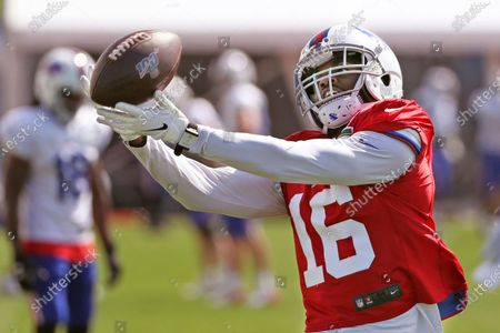 Buffalo Bills wide receiver Robert Foster (16) catches a pass in a drill during an NFL football training camp in Orchard Park, N.Y