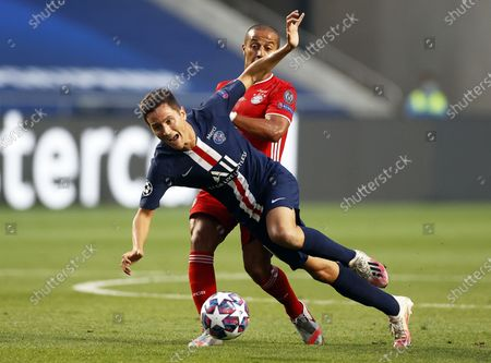 Ander Herrera (front) of PSG in action against Thiago Alcantara (back) of Munich during the UEFA Champions League final between Paris Saint-Germain and Bayern Munich in Lisbon, Portugal, 23 August 2020.