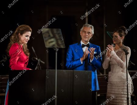 Her Majesty Queen Rania receiving he Andrea Bocelli Humanitarian Award in Florence, Italy