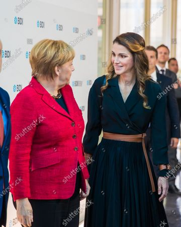 Her Majesty Queen Rania and German Chancellor Angela Merkel at the Day of German Industry BerlinGermanyOctober 2016