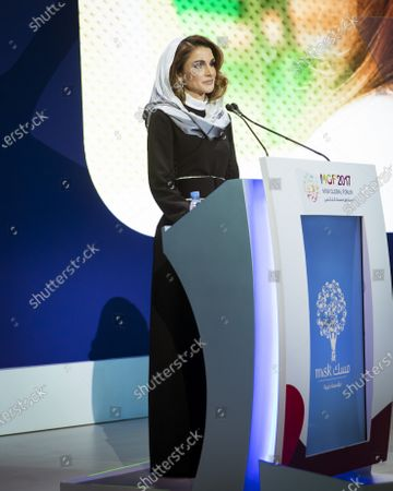 Her Majesty Queen Rania giving a speech at the Misk Global ForumNovember 2017