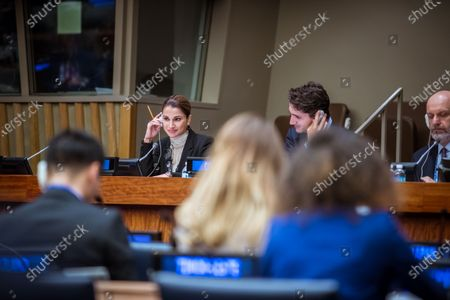 Her Majesty Queen Rania with Canadian Prime Minister Justin Trudeau at the UN Summit for Refugees and Migrants.