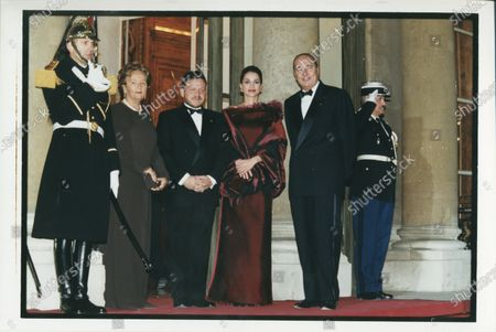 HRH King Abdullah II and Her Majesty Queen Rania with Jacques Chirac during a state visit
