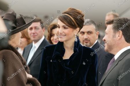 Stock Photo of His Majesty King Abdullah II and Her Majesty Queen Rania al Abdullah with Queen Queen Beatrix of the Netherlands,The Hague,30th October 2006