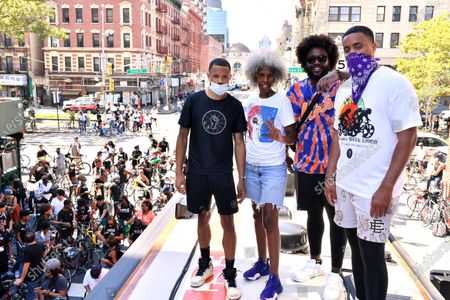 Co-Founders of Black Rides for Black Lives' Najee Tyler, Lamont Tory Stapleton and Carver Green with Erica Ford. ÒBlack Rides for Black LivesÓ is a 16 mile bike ride from Chinatown to Harlem supporting the Black Lives Matter Movement.Cyclists participate in 'Bike Rides for Black Lives', a 16 mile bike ride from Chinatown to Harlem supporting the Black Lives Matter Movement.