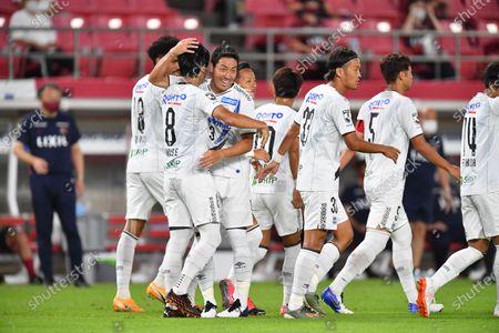 Gamba Osaka Kosuke Onose (8) celebrates with Gen Shoji after scoring their team first goal during the 2020 J1 League match between Kashima Antlers 1-1 Gamba Osaka at Kashima Stadium, Kashima, Ibaraki, Japan.