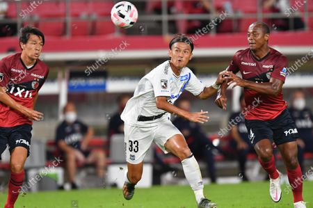 Gamba Osaka's Takashi Usami (L) and Kashima Antlers' Leo Silva during the 2020 J1 League match between Kashima Antlers 1-1 Gamba Osaka at Kashima Stadium, Kashima, Ibaraki, Japan.