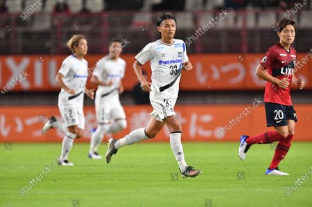 Gamba Osaka's Takashi Usami (L) and Kashima Antlers' Kento Misao during the 2020 J1 League match between Kashima Antlers 1-1 Gamba Osaka at Kashima Stadium, Kashima, Ibaraki, Japan.
