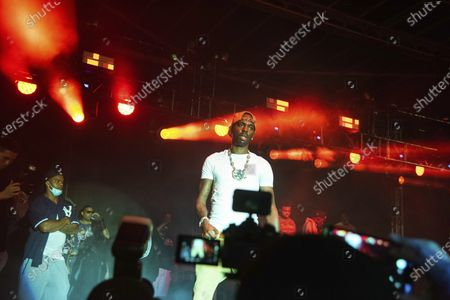Stock Picture of Young Dolph performs on stage at The Parking Lot Concert, in Atlanta
