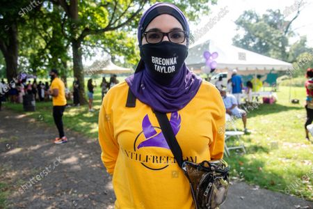 Linda Sarsour poses for a photo at Bre-B-Q Community Barbecue and Concert Honoring All The Lives Lost to Police Violence at Shawnee Park presented by Until Freedom on day two of BreonnaCon, in Louisville, KY