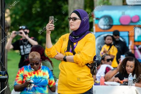 Linda Sarsour attends Bre-B-Q Community Barbecue and Concert Honoring All The Lives Lost to Police Violence at Shawnee Park presented by Until Freedom on day two of BreonnaCon, in Louisville, KY