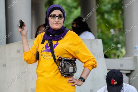 Stock Image of Linda Sarsour attends Bre-B-Q Community Barbecue and Concert Honoring All The Lives Lost to Police Violence at Shawnee Park presented by Until Freedom on day two of BreonnaCon, in Louisville, KY