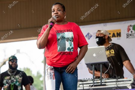 Natalie Malone, Demonjhea Jordan's mother speaks at Bre-B-Q Community Barbecue and Concert Honoring All The Lives Lost to Police Violence at Shawnee Park presented by Until Freedom on day two of BreonnaCon, in Louisville, KY