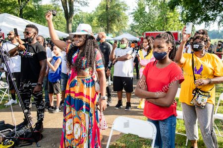 Yandy Smith, left, attends Bre-B-Q Community Barbecue and Concert Honoring All The Lives Lost to Police Violence at Shawnee Park presented by Until Freedom on day two of BreonnaCon, in Louisville, KY