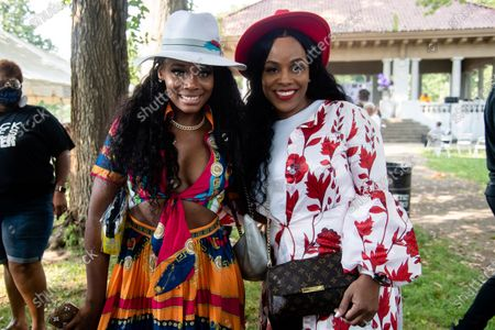 Stock Picture of Yandy Smith, left, and Tiffany Hicks pose for a photo at Bre-B-Q Community Barbecue and Concert Honoring All The Lives Lost to Police Violence at Shawnee Park presented by Until Freedom on day two of BreonnaCon, in Louisville, Ky