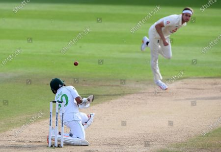 Stock Picture of England's Stuart Broad, right, bowls a bouncer to Pakistan's Abid Ali during the fourth day of the third cricket Test match between England and Pakistan, at the Ageas Bowl in Southampton, England