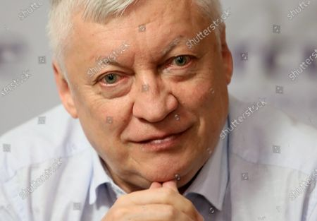 Stock Picture of Russian chess grandmaster Anatoly Karpov attends a press conference in Warsaw, Poland, 24 August 2020.