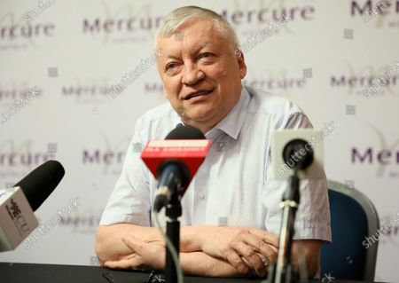 Russian chess grandmaster Anatoly Karpov attends a press conference in Warsaw, Poland, 24 August 2020.