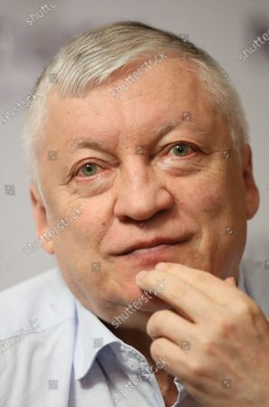 Stock Photo of Russian chess grandmaster Anatoly Karpov attends a press conference in Warsaw, Poland, 24 August 2020.