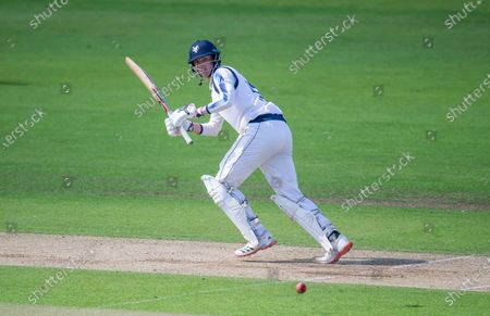 Yorkshire's George Hill hits out against Lancashire.