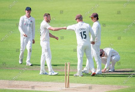 Stock Picture of Lancashire's Danny Lamb celebrates bowling Yorkshire's George Hill.